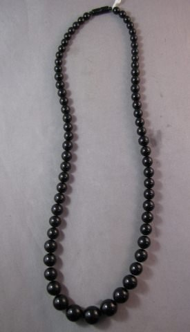 21A: Graduated Black Bead Necklace,