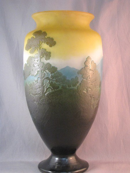 5A: Fine Large Galle Cameo Glass Vase,