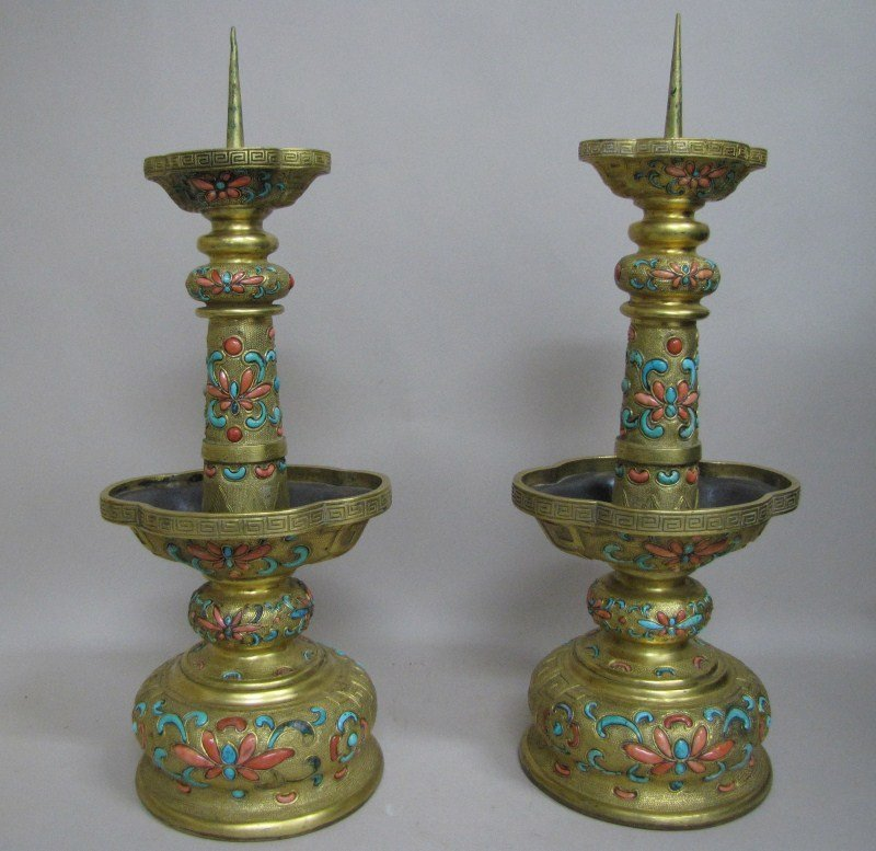 330: Stunning Pair of Chinese Qing Dynasty, Gilt Bronze