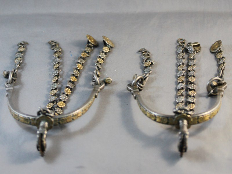 4: Good Pair of Silver and Gold Spanish Colonial
