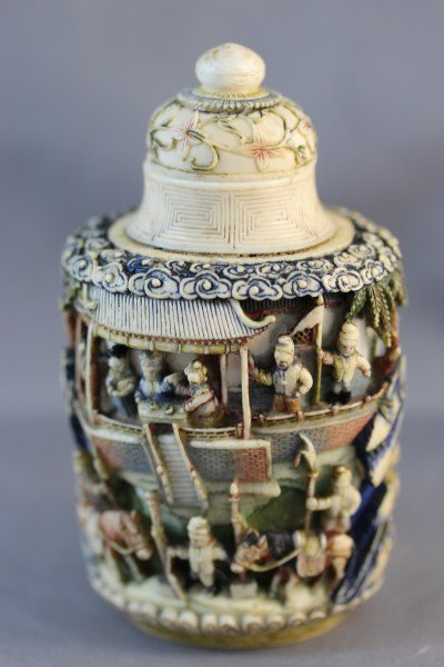 5: Handsome Chinese Bone & Ivory Snuff Bottle & Stopper