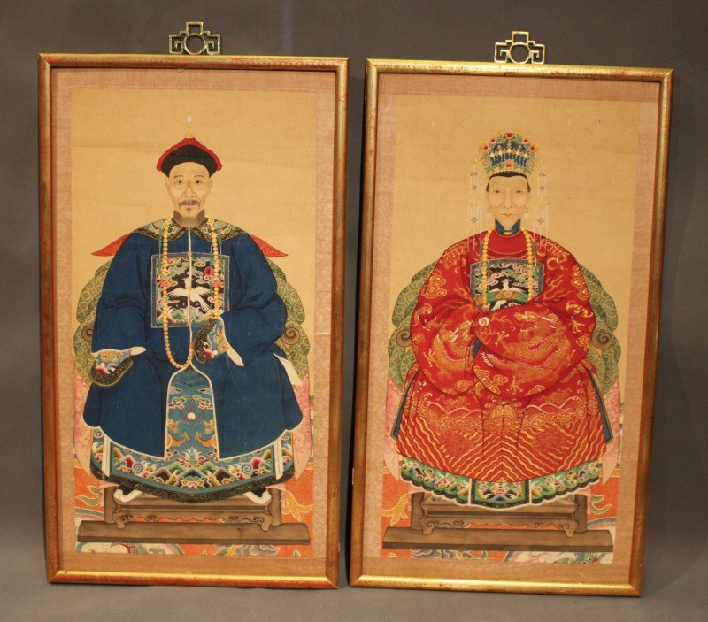 14: Pair of Chinese Ancestral Portraits,