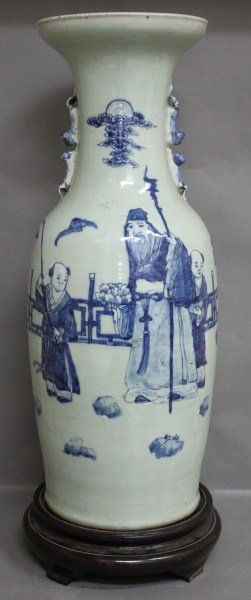 18: Chinese Blue and White Porcelain Vase and Stand,