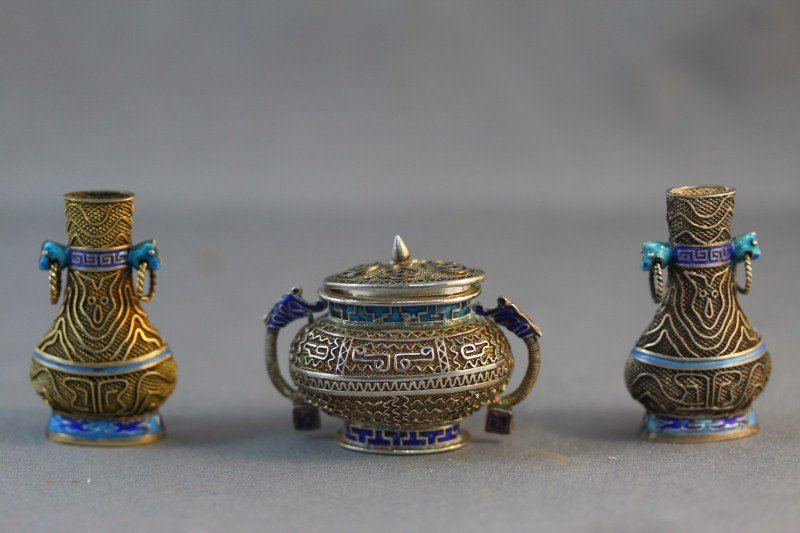 20: Chinese Three Piece Miniature Silver and Enamel
