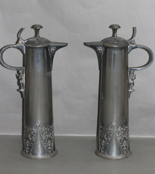 22: Handsome Pair of WMF Pewter Ewers,