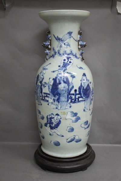 24: Chinese Blue and White Porcelain Vase and Stand,