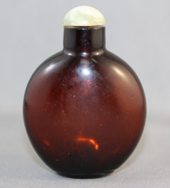 21: Chinese Qing Dynasty Brown Glass Snuff Bottle and