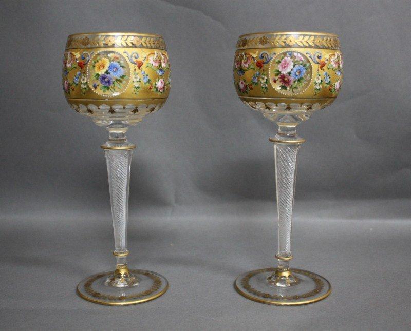 1: Stunning Pair of Venetian Enamel Goblets,