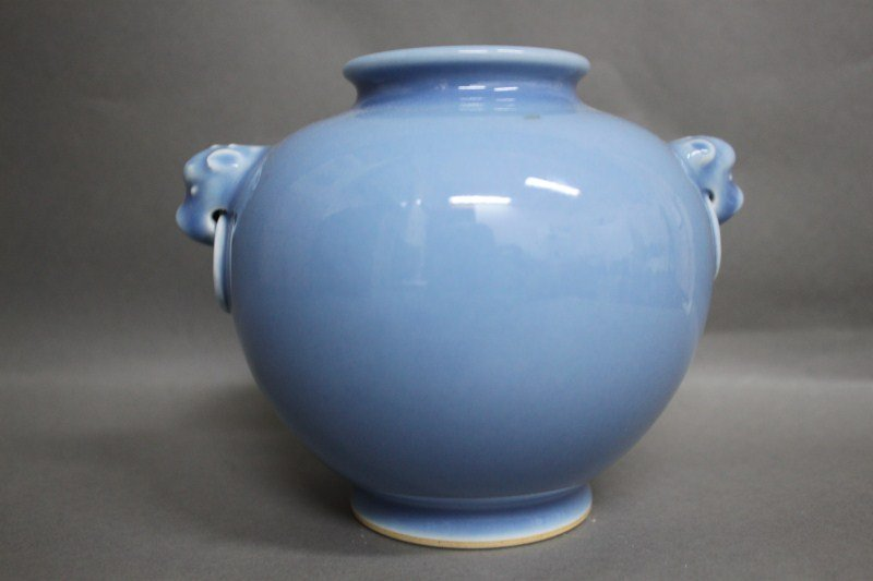5: Chinese Powder Blue Twin Handled Vase,