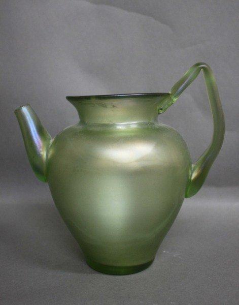 7: Art Nouveau Green Lustre Glass Jug,