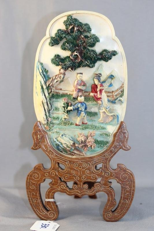 8A: Good Late Qing Dynasty Carved and Coloured Ivory