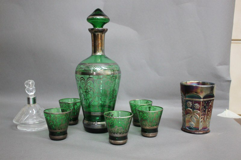 13: Venetian Green Glass Decanter and Five Glasses,