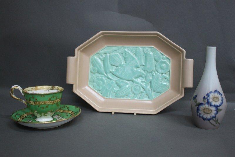 15: Poole Art Deco Pottery twin Handled Tray,