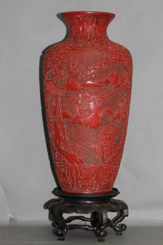 15A: Good Early Chinese Cinnabar Vase and Stand,