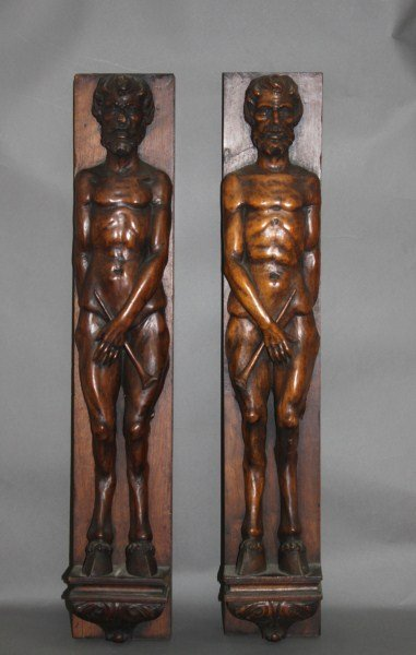 Pair of 19th Century Italian Carved Wooden Panels,