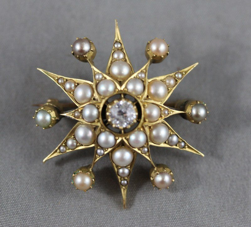 Late Victorian Diamond, Gold and Seed Pearl