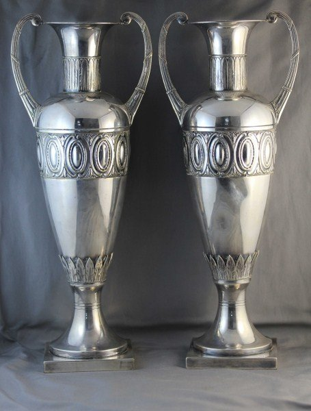 Pair of Austrian Secessionist Twin Handled Vases,