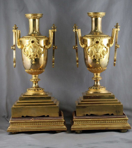 Pair of French Ormolu Twin Classical Vases,
