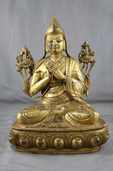 Stunning Chinese Gilt Bronze Buddha,
