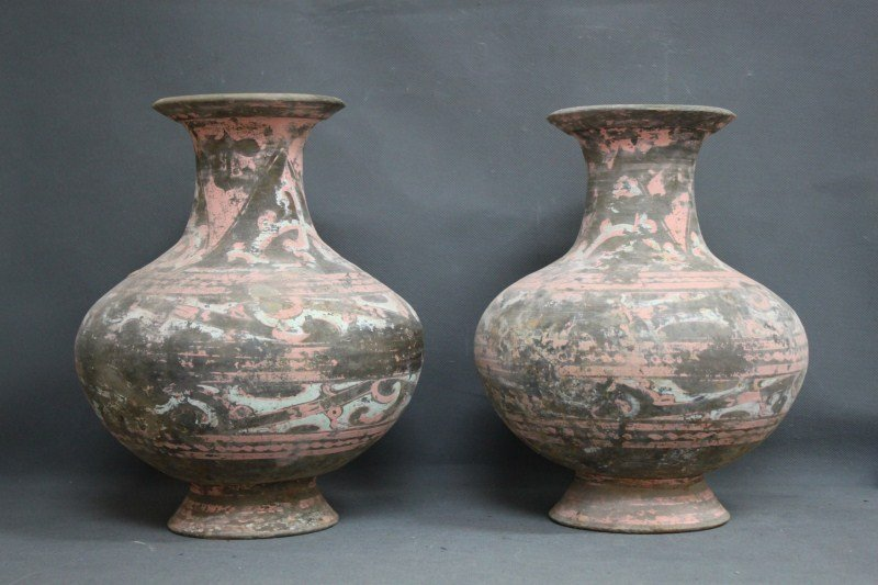 Pair of Chinese Han Dynasty (206B.C-220A.D) Vases,