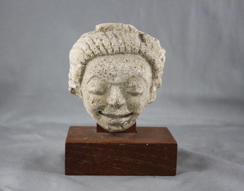 Good Early Indian Limestone Head,