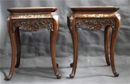 Pair of Chinese Qing Dynasty Inlaid and Huanghuali