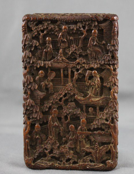 Chinese Late Qing Dynasty, Wooden Card Case,