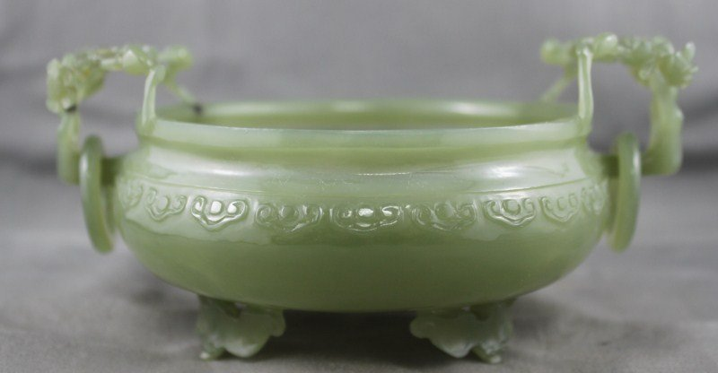 Fine Chinese Jade Twin Handled Censor,