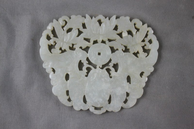 Fine Chinese Qing Carved White/ Pale Green Jade