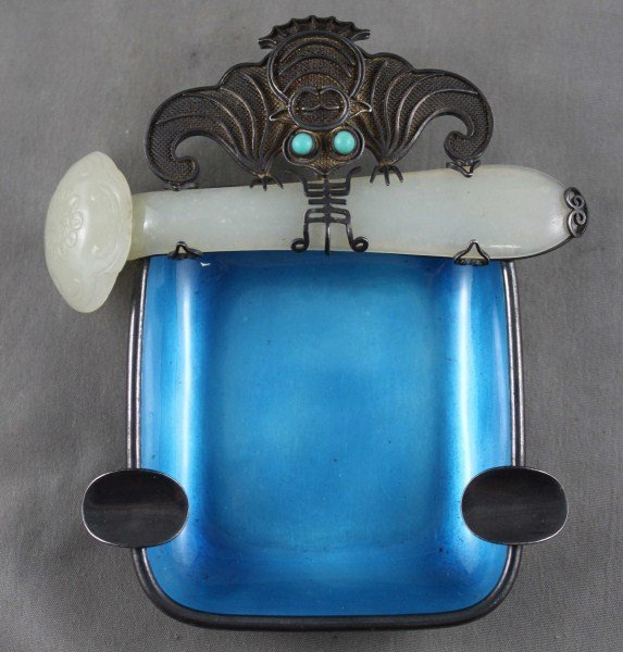 Chinese Silver, Enamel, Jade and Turquoise Ashtray
