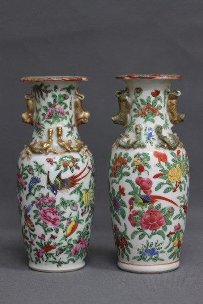 Pair of Chinese Famille Vert Porcelain Vases,
