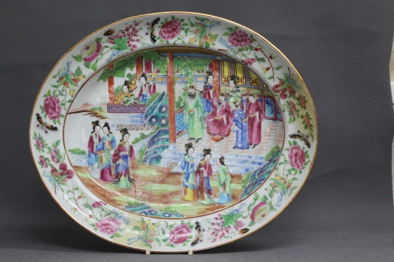 Large Chinese Qing Dynasty Famille Rose Dish,