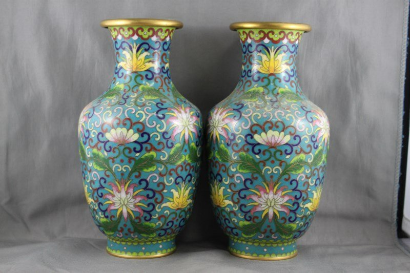 Pair of Chinese Cloisonné Vases,