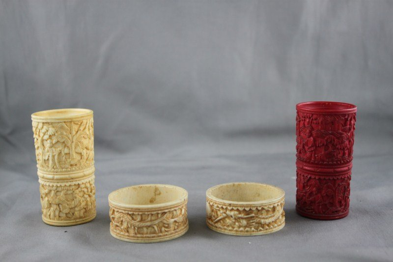 Four Pieces of Chinese Carved Ivory,