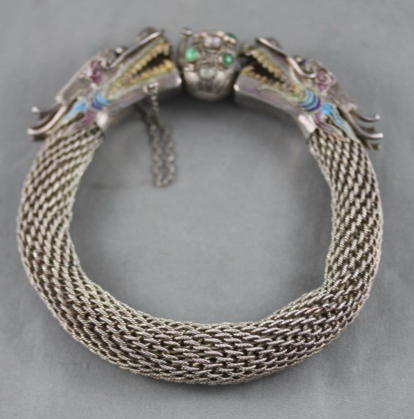 Good Chinese Silver and Enamel Dragon Bangle,
