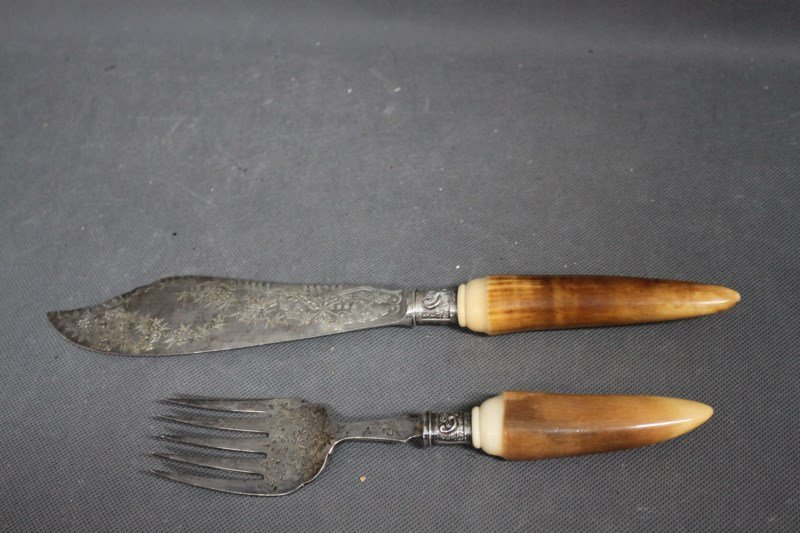 Pair of Victorian Ivory and Silver Fish Servers,