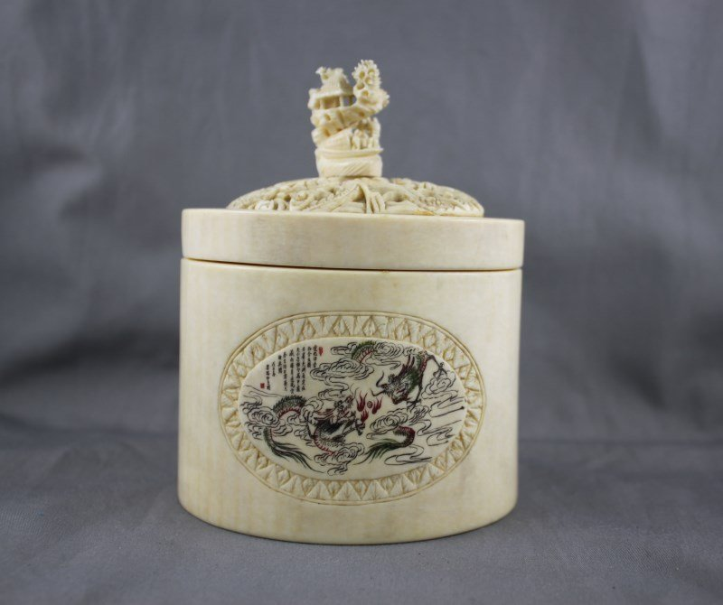Good Chinese Ivory Box and Cover,