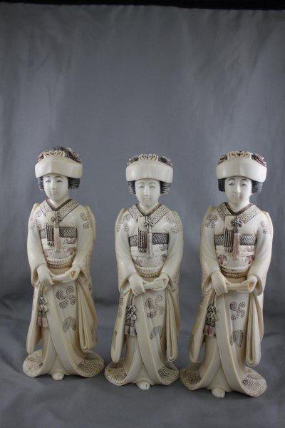 Good Set of Three Japanese Ivory Figures,