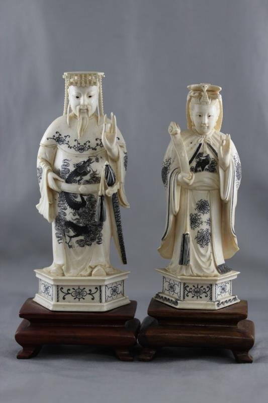Pair of Chinese Carved Ivory Figures,