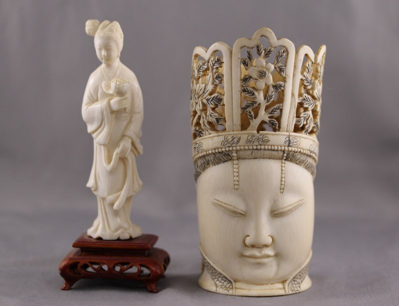 Chinese Ivory Buddha Head, together with