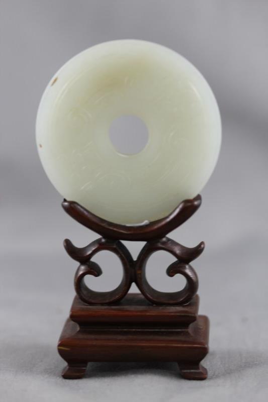 Good Chinese White Jade Bi Disc,