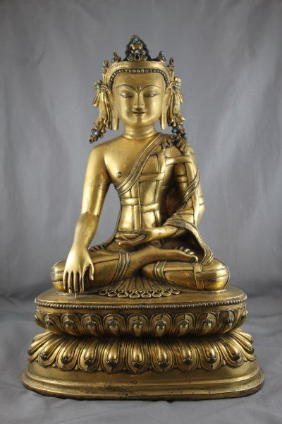 Good Large Chinese Gilt Bronze Guan Yin,