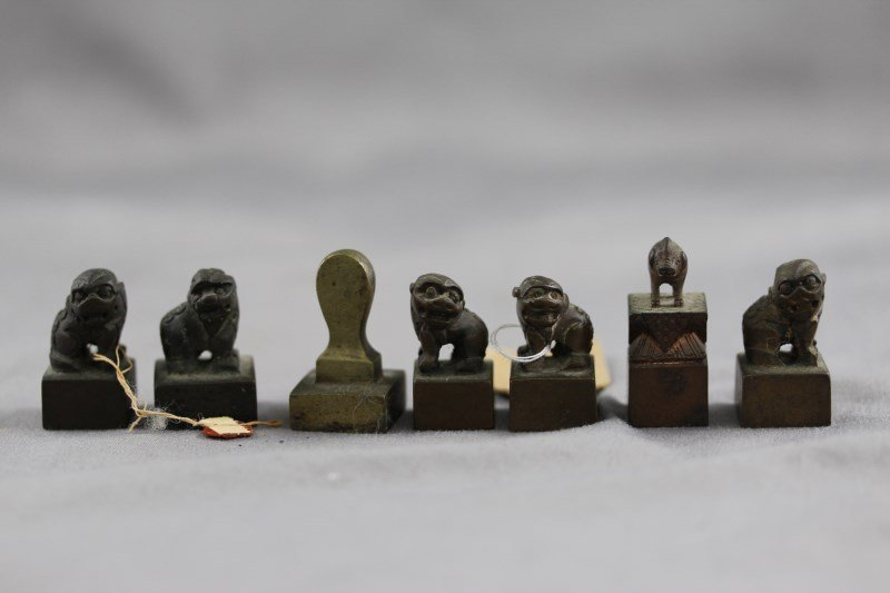 Seven Various Chinese Bronze Seals,