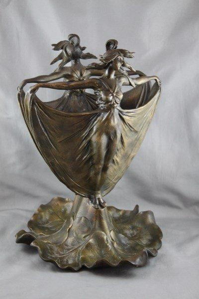 Wonderful Art Nouveau Figural Bronze Vase,