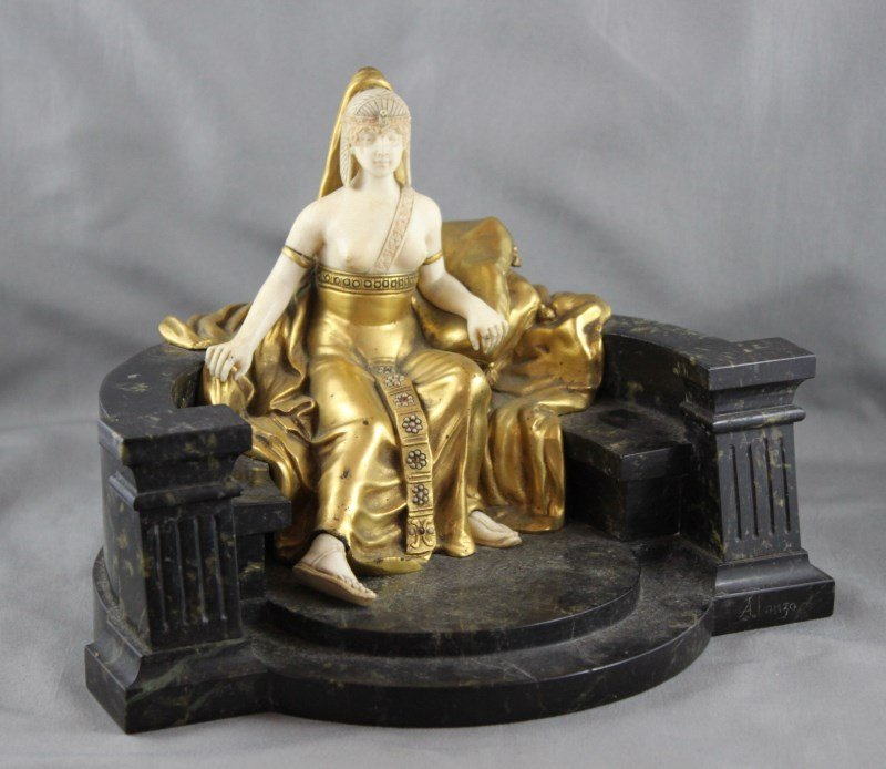 Stunning French Art Deco Gilt Bronze & Ivory