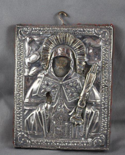 Mid 19th Century Russian Silver Icon,