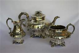 Mid Victorian Sterling Silver Three Piece Tea Set