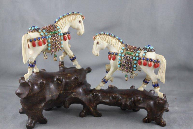 Stunning Pair of Chinese Ivory Horses,