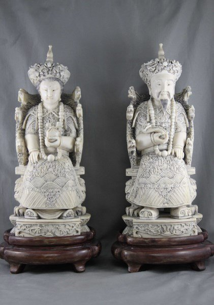 Good Pair of Large Chinese Ivory Figures,