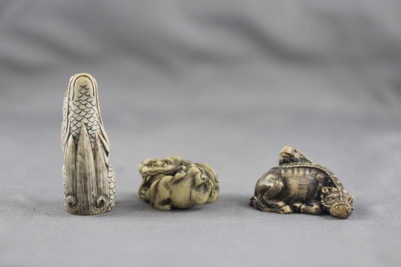 Three Good Ivory Netsuke,